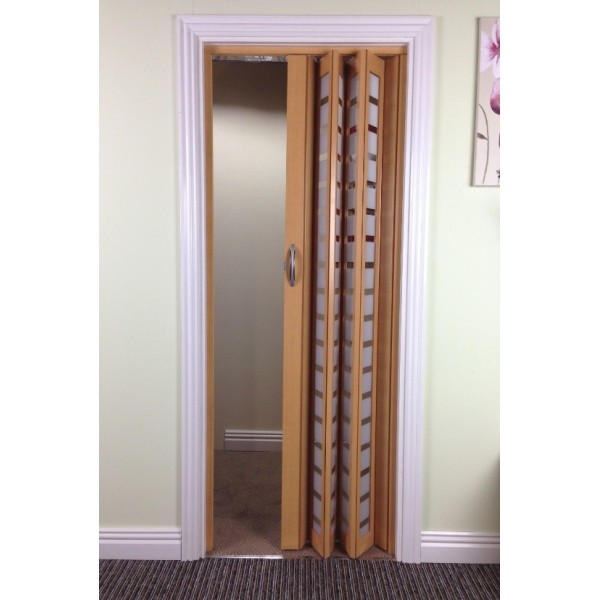 The New Generation Internal Folding Concertina Door Wood Effect Glass