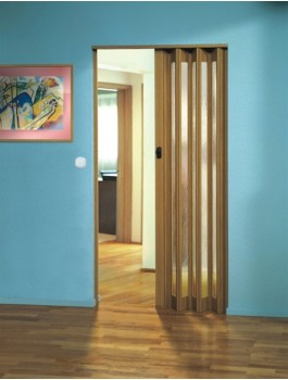 The Eurostar Folding Door - Light Oak - Glass Wood Effect